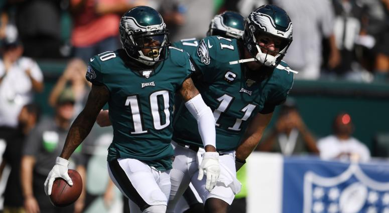 Philadelphia Eagles wide receiver DeSean Jackson (10) reacts after catching a touchdown pass from quarterback Carson Wentz (11) in the third quarter against the Washington Redskins at Lincoln Financial Field.