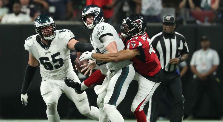 Atlanta Falcons linebacker Vic Beasley (44) sacks Philadelphia Eagles quarterback Carson Wentz (11).