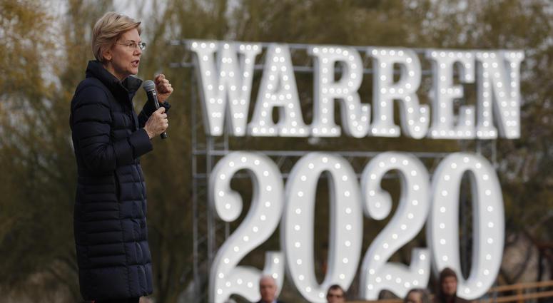In this Feb. 17, 2019, file photo, Democratic presidential candidate Sen. Elizabeth Warren, D-Mass., speaks at an organizing event in Las Vegas.