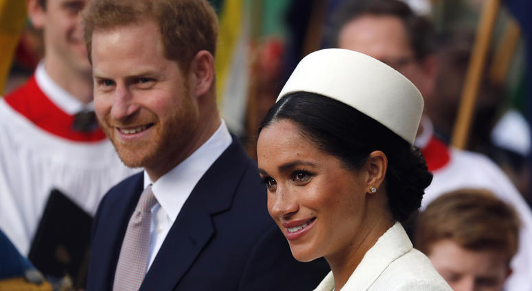 In this Monday, March 11, 2019 file photo, Britain's Prince Harry and Meghan, the Duchess of Sussex leave after the Commonwealth Service at Westminster Abbey in London.