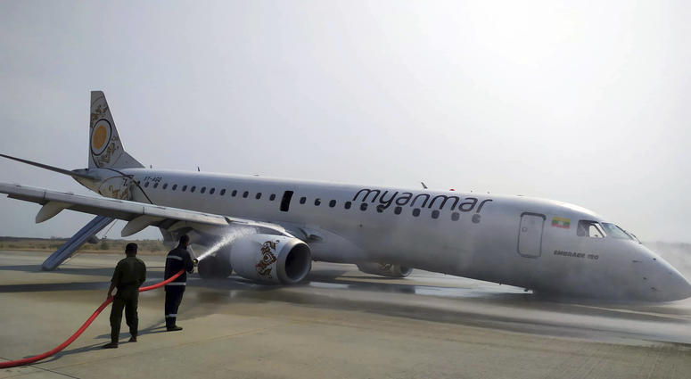 All passengers and crew are reported safe and uninjured after a Myanmar National Airlines plane made a scheduled but emergency landing at Mandalay International Airport on only its rear landing wheels.
