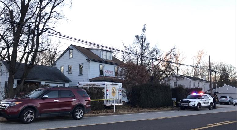Authorities are investigating the scene of a home in Montgomery County where two bodies were found in the front yard.