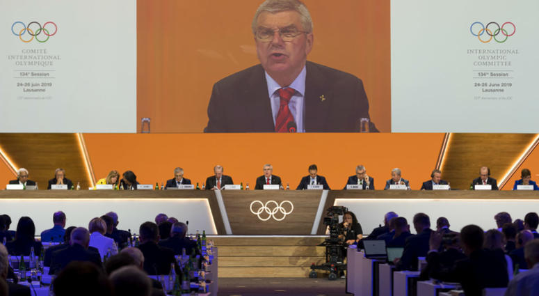 International Olympic Committee, IOC, President Thomas Bach from Germany speaks during the 134th Session of the International Olympic Committee (IOC), at the SwissTech Convention Centre, in Lausanne, Switzerland, Tuesday, June 25, 2019.
