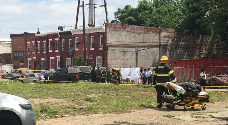 A row home collapsed on N. Bailey Street in Brewerytown while a contractor was inside demolishing the building.