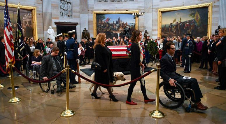 President George H.W. Bush lies in state at the U.S. Capitol Rotunda.