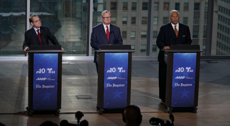 Democratic mayoral candidates Alan Butkovitz, Jim Kenney and Anthony Williams.