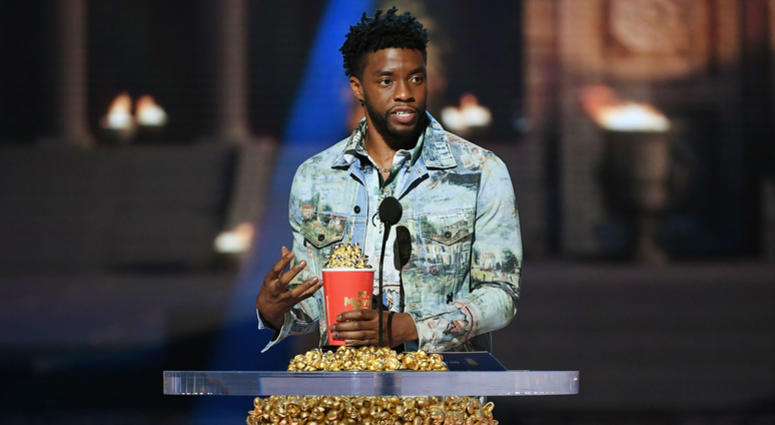Actor Chadwick Boseman accepts the Best Hero award for 'Black Panther' onstage during the 2018 MTV Movie And TV Awards at Barker Hangar on June 16, 2018 in Santa Monica, California.