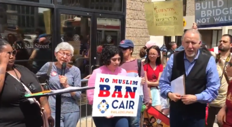 About 200 people protested Monday outside of the Philadelphia ICE office on North Eighth Street. The rally was against what immigrant rights advocates see as an attempt to use the threat of raids as leverage to push lawmakers to pass reforms.