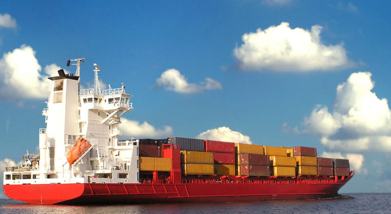 A typical cargo ship put to sea.