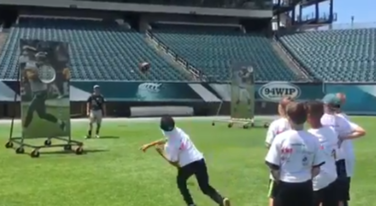 Playing is serious business for the Eagles, so they invited 125 kids from five area schools out for the NFL's Play 60 Field Day Challenge.