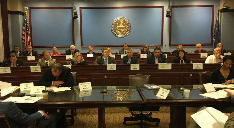 The House Labor and Industry committee is shown meeting Monday morning.