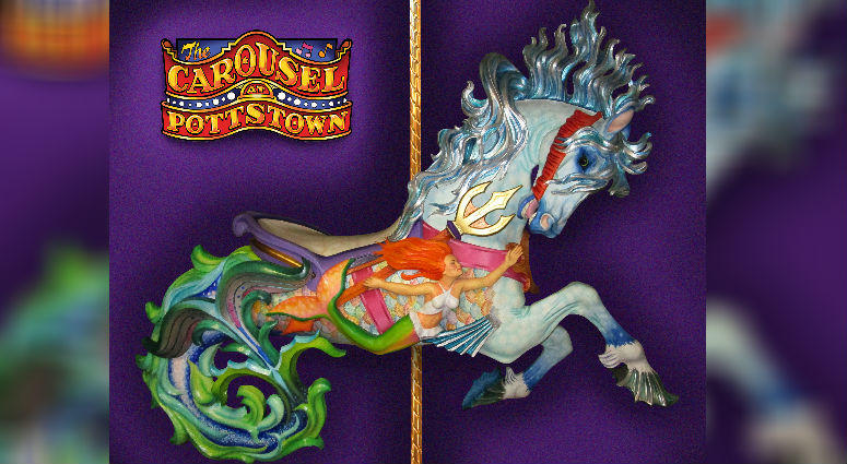 The Hippocampus is a creature from Greek mythology. Half-horse, half-porpoise, it pulled Poseidon's chariot. It's the latest addition to the Carousel at Pottstown.