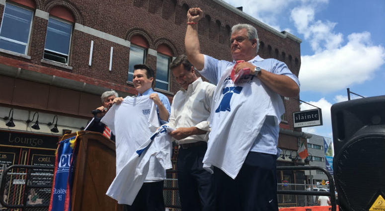From left: Rep. Brendan Boyle, New Jersey Rep. Donald Norcross, and Pennsylvania Rep. Bob Brady speak at a rally to protest Trump's executive orders on unions.