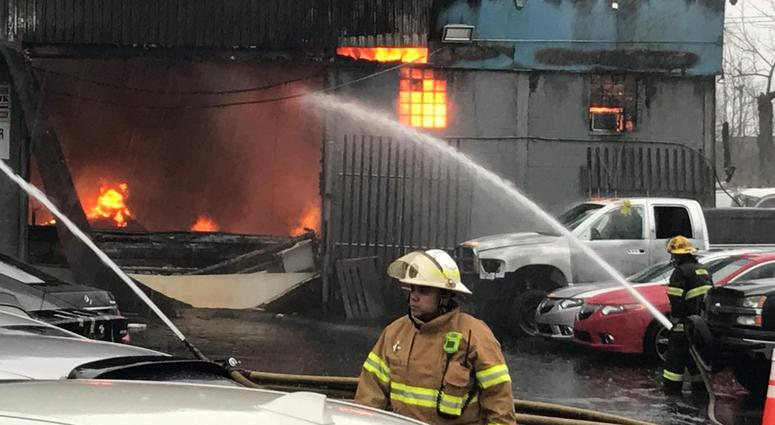 Fire crews are on the scene of a three-alarm fire that broke out around 9 a.m. Friday morning in Northeast Philadelphia.