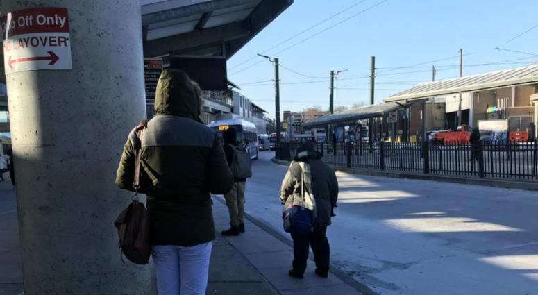 Passengers wait in the cold at the Frankford Transportation Center.