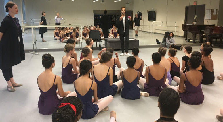Internationally renowned dancer Gabe Stone Shayer visited String Theory Charter School.