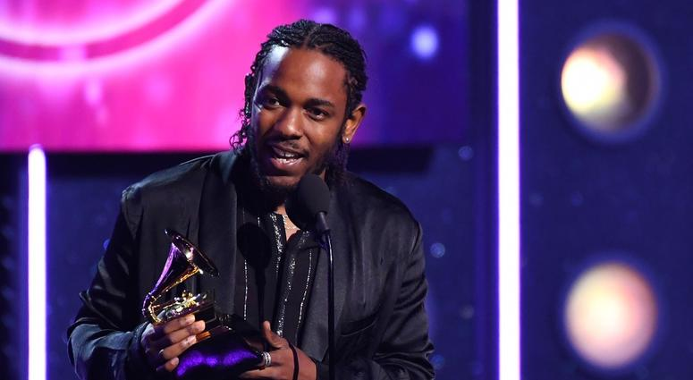 Jan 28, 2018; New York, NY, USA; Kendrick Lamar accepts Best Rap Album during the 60th Annual Grammy Awards at Madison Square Garden.