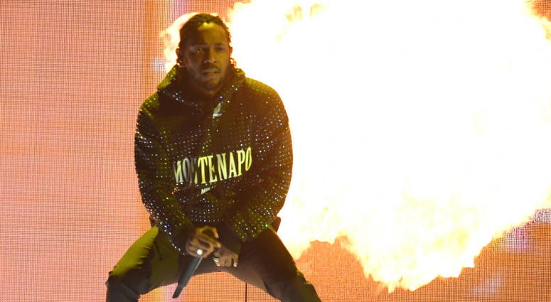 Kendrick Lamar performs on stage during the 2018 BRIT Awards show, held at the O2 Arena, London. EDITORIAL USE ONLY. PRESS ASSOCIATION Photo. Picture date: Wednesday February 21, 2018.