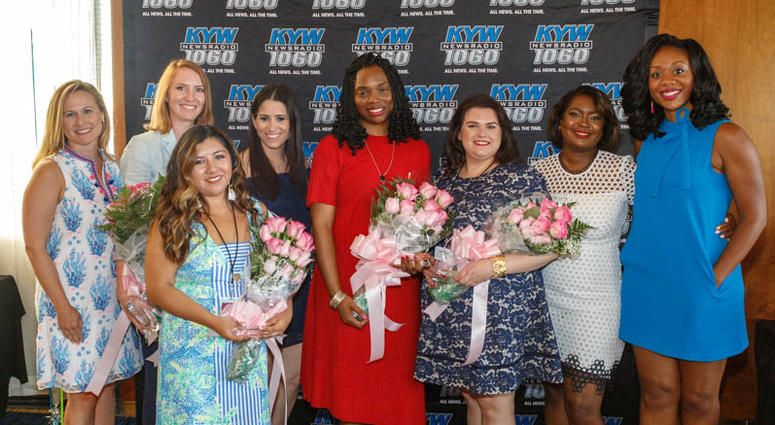 From left: Michelle Kelly, Rachel Heath, Melany Bustillos, Lauren Miller, Ebony Wortham, Emily Martin, Melony Roy, Cherri Gregg