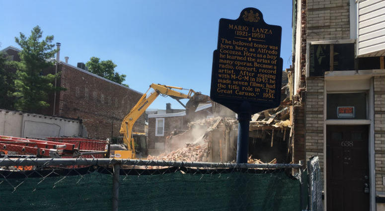 Demolition crews have taken down the boyhood home of Philadelphia opera singer Mario Lanza. A new residential development will go up in its place.