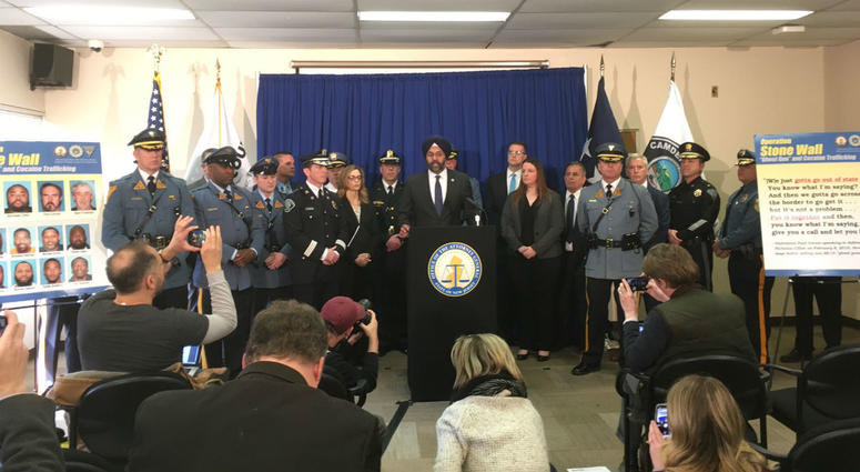 "N.J. Attorney General Gurbir Grewal announces the first ""ghost gun"" seizures and arrests, under a new law banning untraceable weapons."