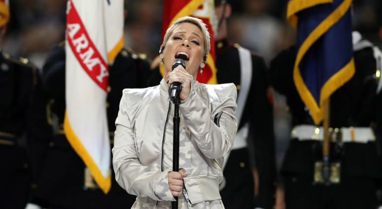 Pink sings the national anthem prior to Super Bowl LII between the New England Patriots and the Philadelphia Eagles at U.S. Bank Stadium in Minneapolis, Feb 4, 2018.