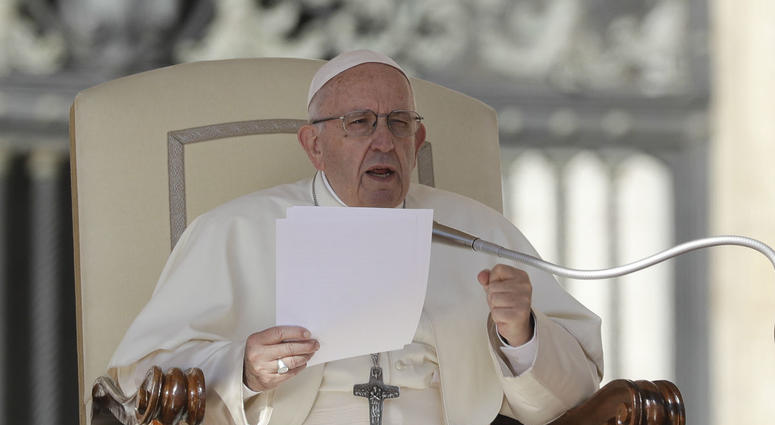 Pope Francis delivers his message on the occasion of his weekly general audience in St.Peter's Square, at the Vatican, Wednesday, Oct. 10, 2018.