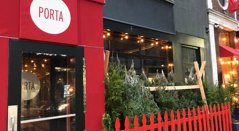 Christmas trees are lined up outside of Porta Philadelphia.