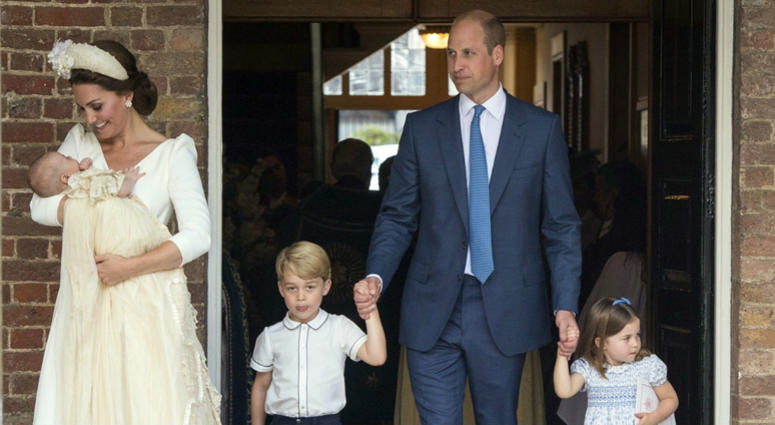 Britain's Prince William and Kate, Duchess of Cambridge with their children Prince George, Princess Charlotte Prince Louis as they arrive for Prince Louis' christening service.