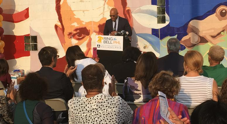 Superintendent Dr. William Hite speaks during opening ceremonies marking the start of classes in the Philadelphia School District outside the Luis Munoz Marin Elementary School in North Philadelphia on Monday.