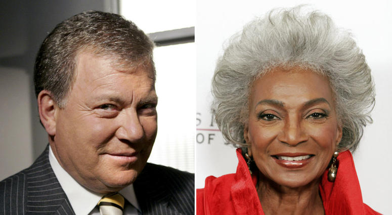 """This combination photo shows actor William Shatner on the set of ABC's """"Boston Legal"""" in Manhattan Beach, Calif., on Sept. 13, 2004, left, and actress Nichelle Nichols attending an all-star tribute concert for jazz icon Herbie Hancock in Los Angeles"""