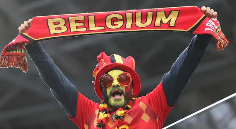 A fan of Belgium cheers prior to the 2018 FIFA World Cup semi-final match between France and Belgium in Saint Petersburg, Russia, July 10, 2018.