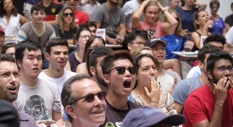 Soccer fans react while they watch the match between Belgium and France during a 2018 FIFA World Cup semifinal viewing party at the Hammer Museum in Los Angeles.