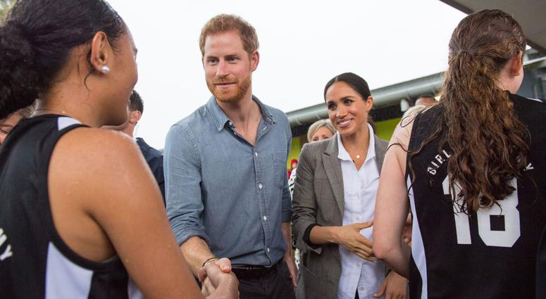 10/18/2018 - The Duke and Duchess of Sussex meet netball players during a visit to Clontarf Foundation and Girls Academy in Dubbo, New South Wales, on the second day of the royal couple's visit to Australia.