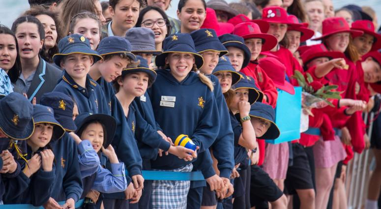 10/19/2018 - Crowds wait to see the Duke and Duchess of Sussex on South Melbourne Beach during their visit to Melbourne, on the third day of the royal couple's visit to Australia.