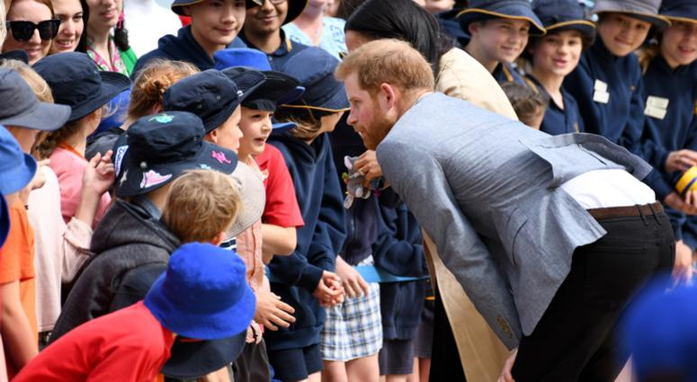 10/18/2018 - Prince Harry Duke of Sussex and Meghan Duchess of Sussex visit South Melbourne Beach, Australia to watch BeachPatrol volunteers in action and meet local lifeguards and school children.