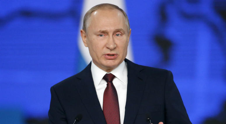 Russian President Vladimir Putin delivers a state-of-the-nation address in Moscow, Russia, Wednesday, Feb. 20, 2019.
