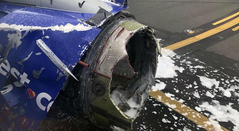 damaged engine on Southwest Airlines flight 1380