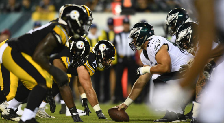 The Philadelphia Eagles line up against the Pittsburgh Steelers int the fourth quarter at Lincoln Financial Field in their pre-season game on Aug. 9, 2018