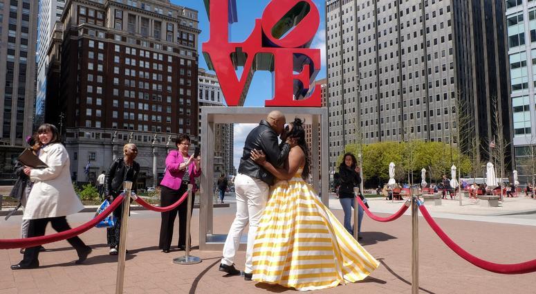 Clivette Walker and Anthony Duke wedding ceremony at Love Park on April 10, 2019.