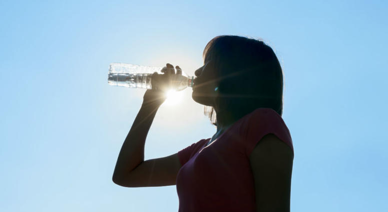 drinking water in hot summer