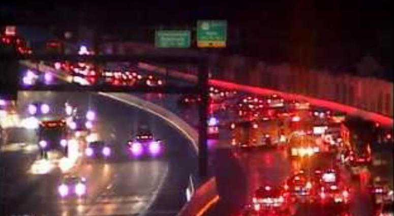 On Route 202 south, approaching 252, only the left lane gets by for flooding, and a crash approaching this is blocking the two left lanes.