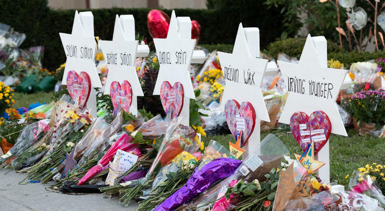 A memorial outside the Tree of Life Congregation Synagogue in Pittsburgh is seen during the visit of President Donald J. Trump and First Lady Melania Trump Tuesday, Oct. 30, 2018.