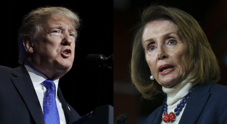 From left: President Donald Trump; House Speaker Nancy Pelosi