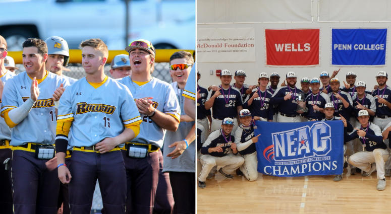 Rowan University and Penn State Abington's men's baseball teams