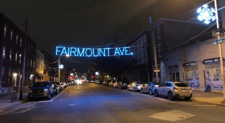 """The lit signs that say """"Fairmount Avenue"""" have officially been turned on in the 1500 and 2500 blocks of the avenue."""