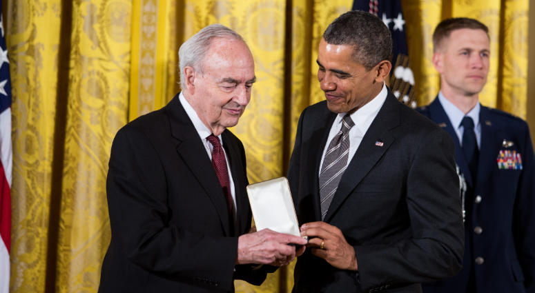 President Barack Obama presents Harris Wofford, former U.S. senator from Pennsylvania and former CEO of the Corporation for National and Community Service, with a 2012 Presidential Citizens Medal, Feb. 15, 2013.