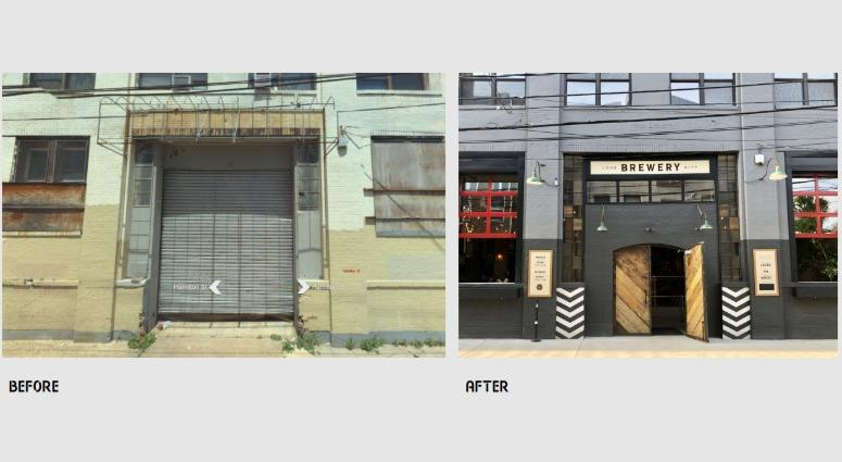 An example of the growing Spring Arts neighborhood, representing Love City Brewing before and after.