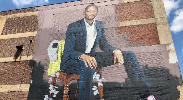 London-based artist Richard Wilson was inspired to create a 60-foot mural of Will Smith.