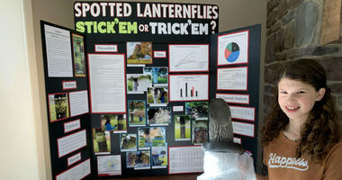 Rachel Bergey with at a science fair.